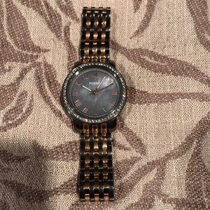 Women's two tone fossil watch